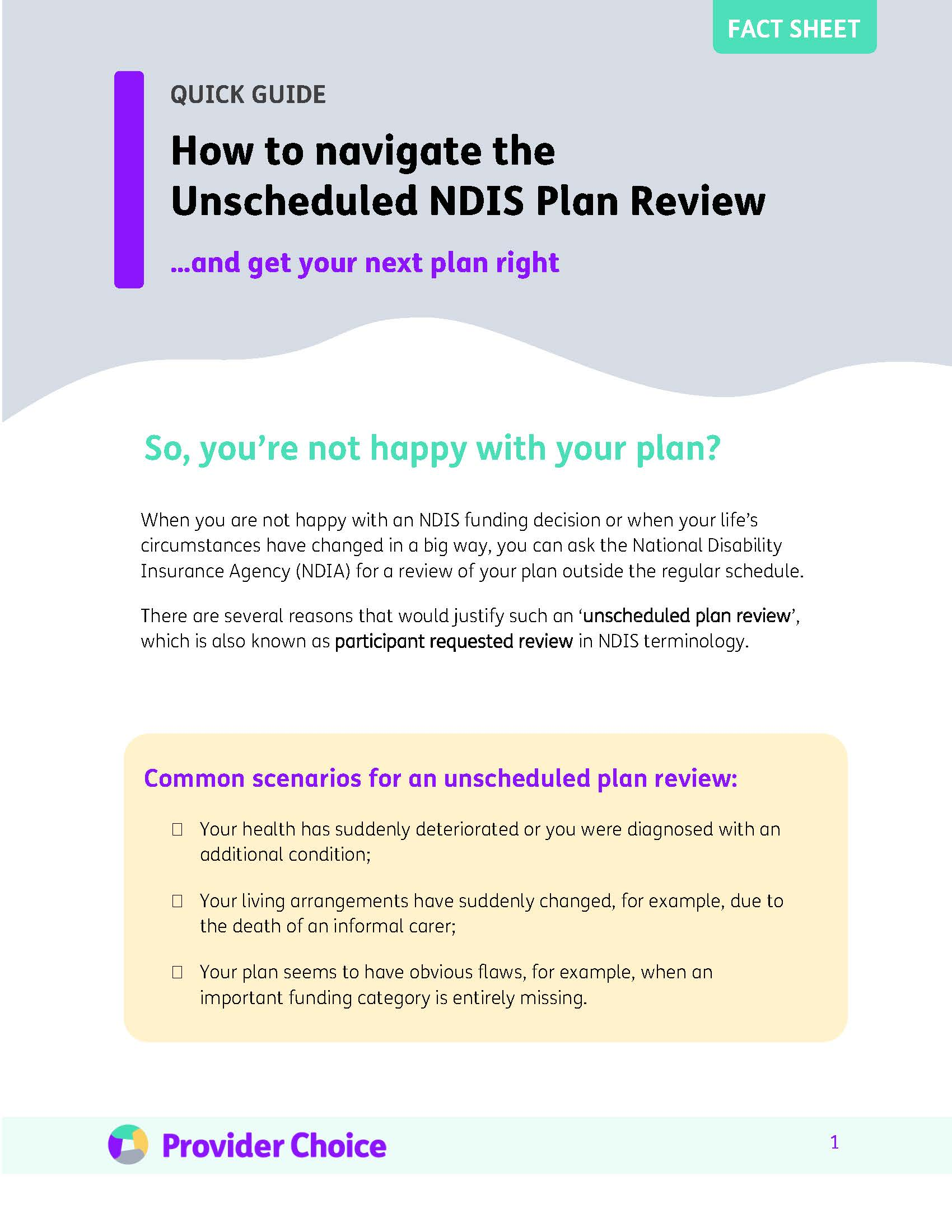 Factsheet: How to navigate the unscheduled plan review