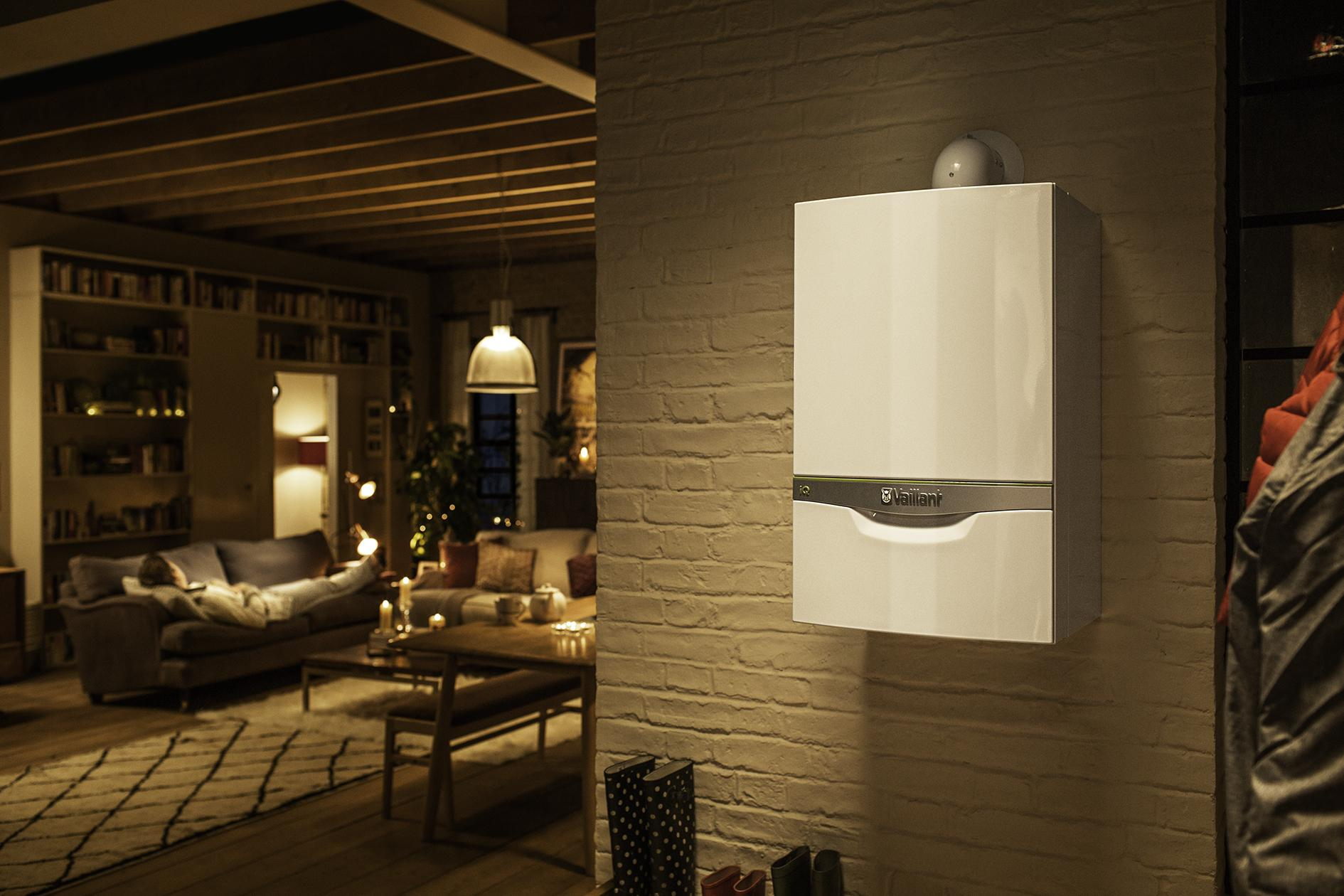 A combi boiler, wall mounted in a lovely warm home