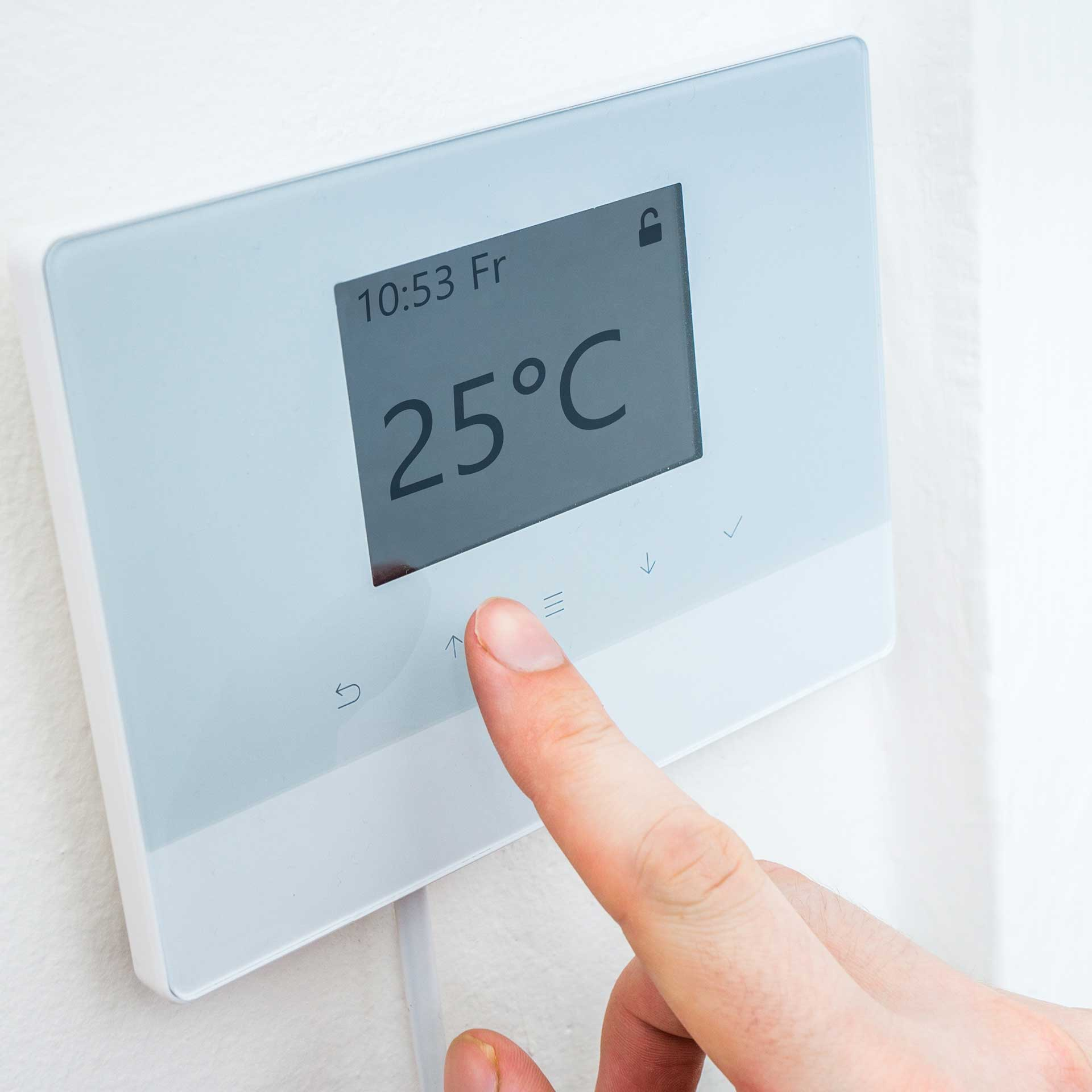 Central heating thermostat set to 25c