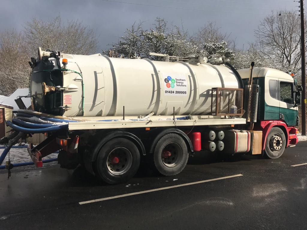 A Southern Energy Solutions van emptying a cesspit
