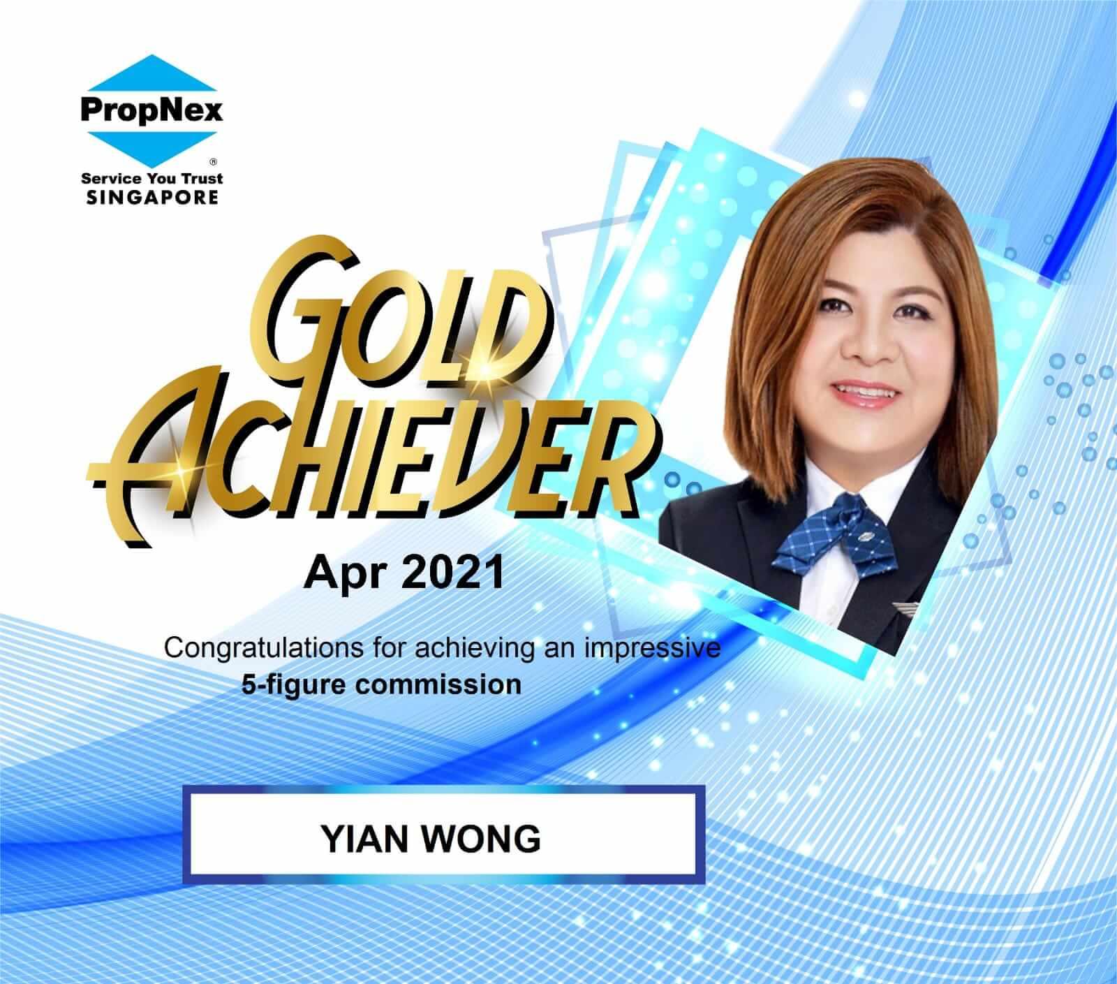 Yian Wong Gold Achiever April 2021