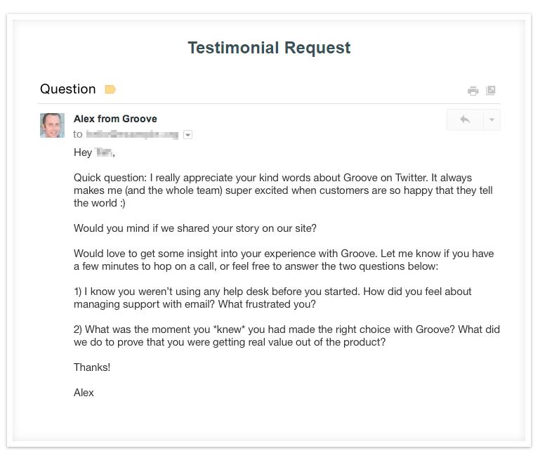 Testimonial request example