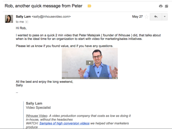 An example of B2B customer testimonial videos in sales emails.
