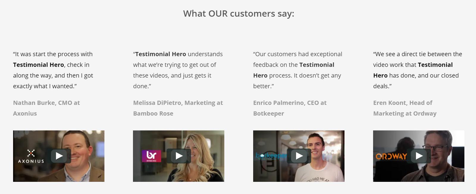 Testimonial Hero shows B2B customer testimonial videos.