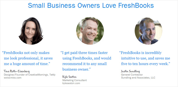 Social proof on Freshbooks helps build trust to prospects.