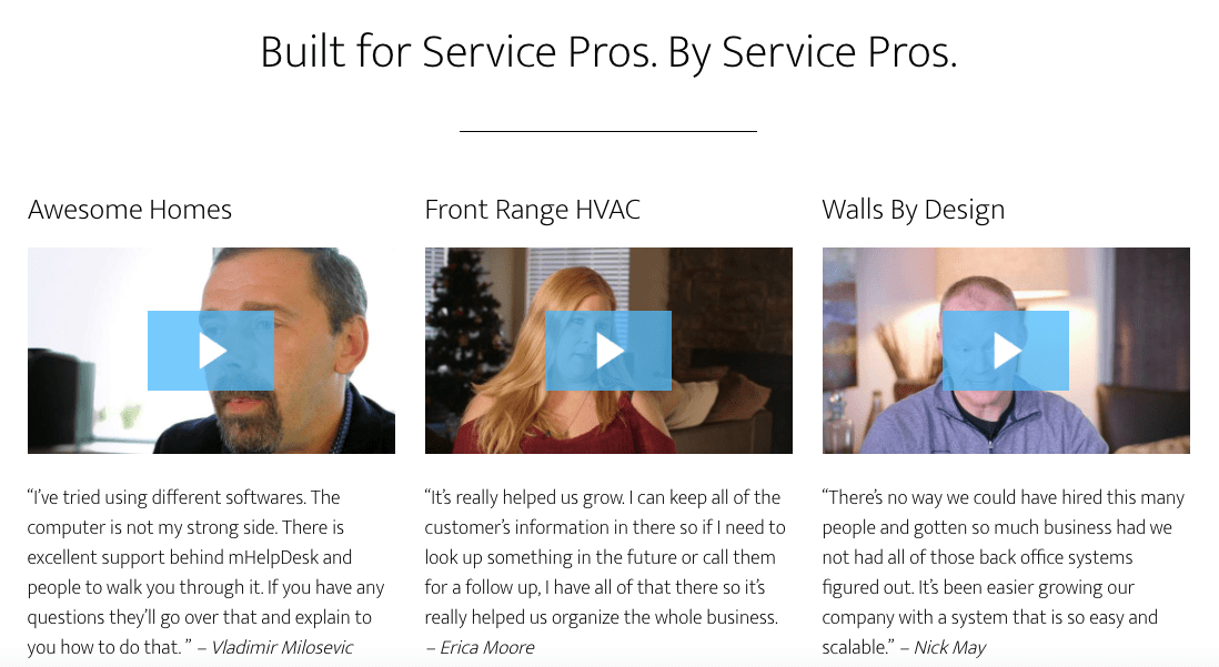 The customer testimonial video strategy of mHelpDesk clearly includes videos for different segments.