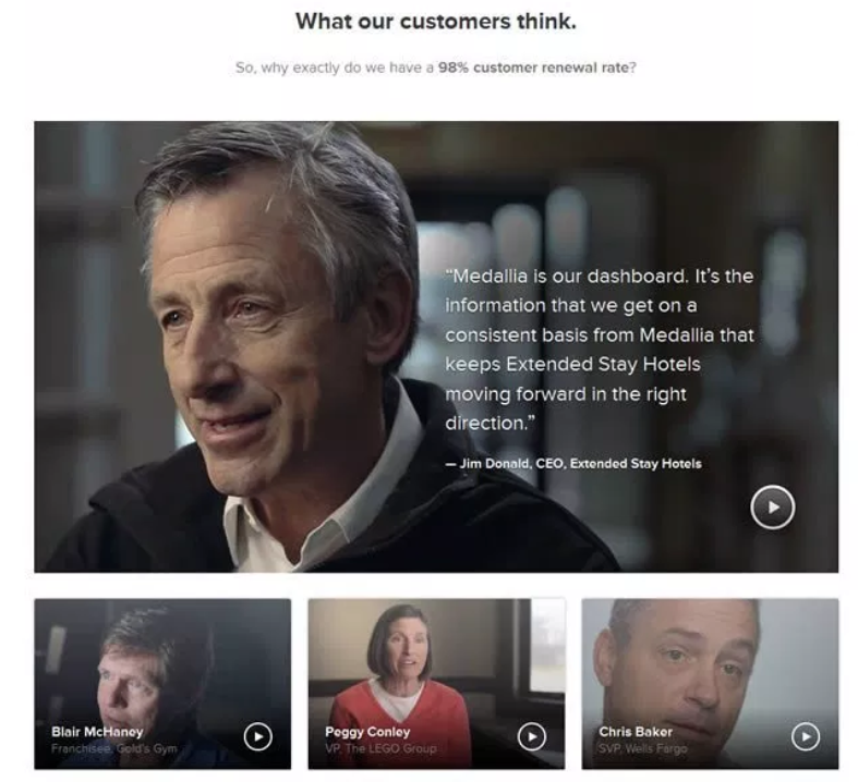 Video testimonials on Medallia's customer page.