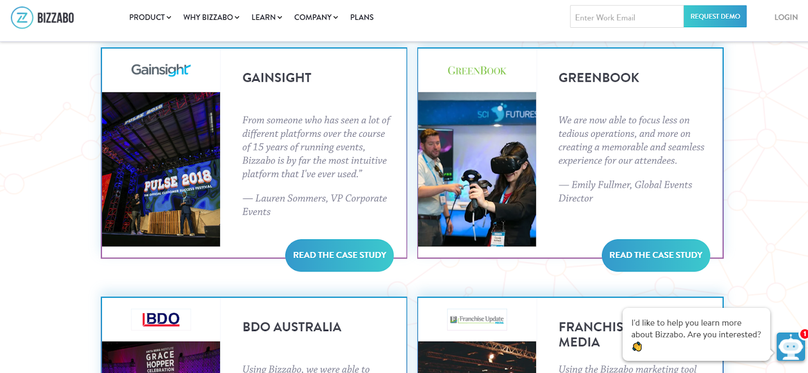 Bizzabo's case studies and video testimonial page highlights it's strengths.