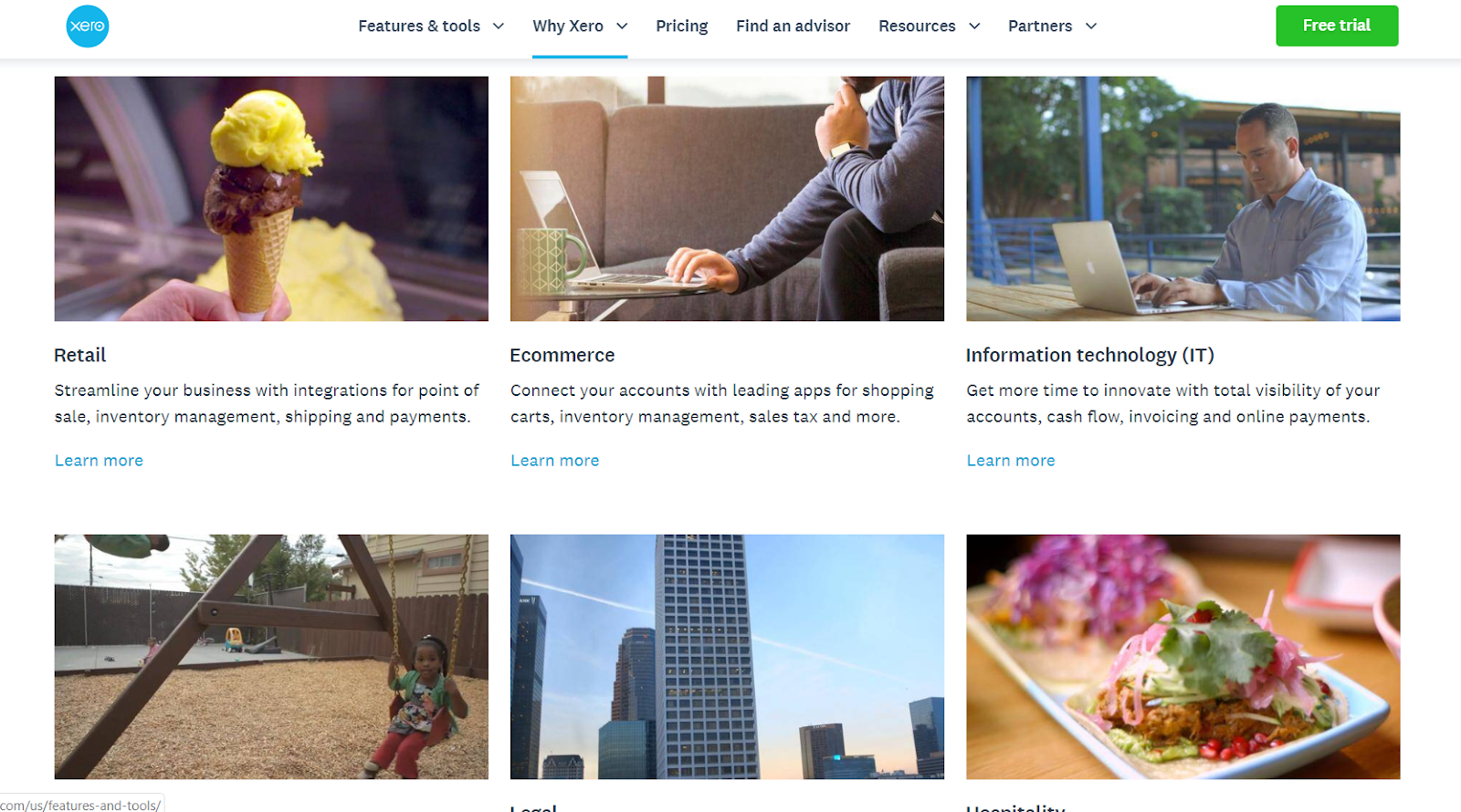 Xero's client testimonial videos page extends across industries.