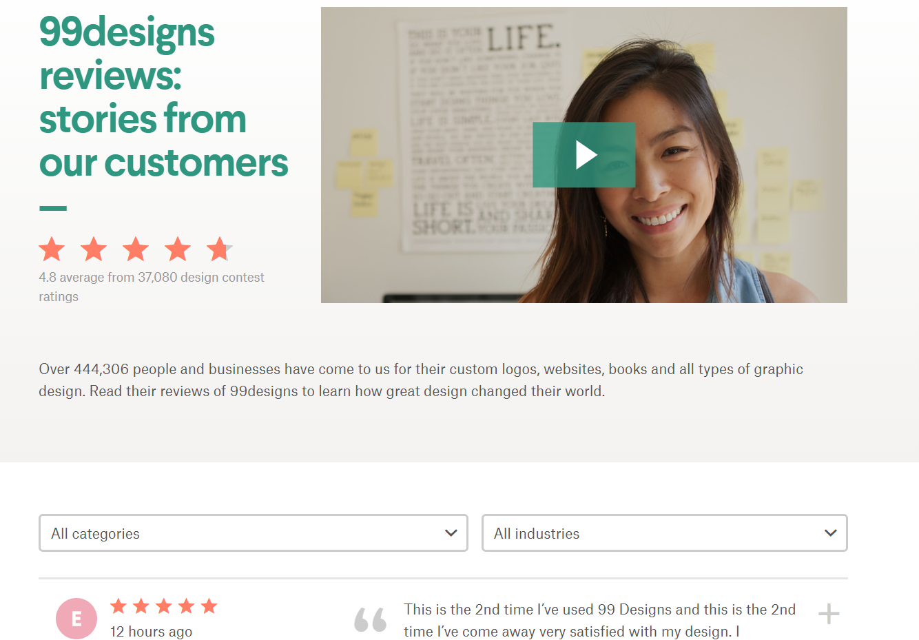 99designs' customer videos and reviews page uses rating system.