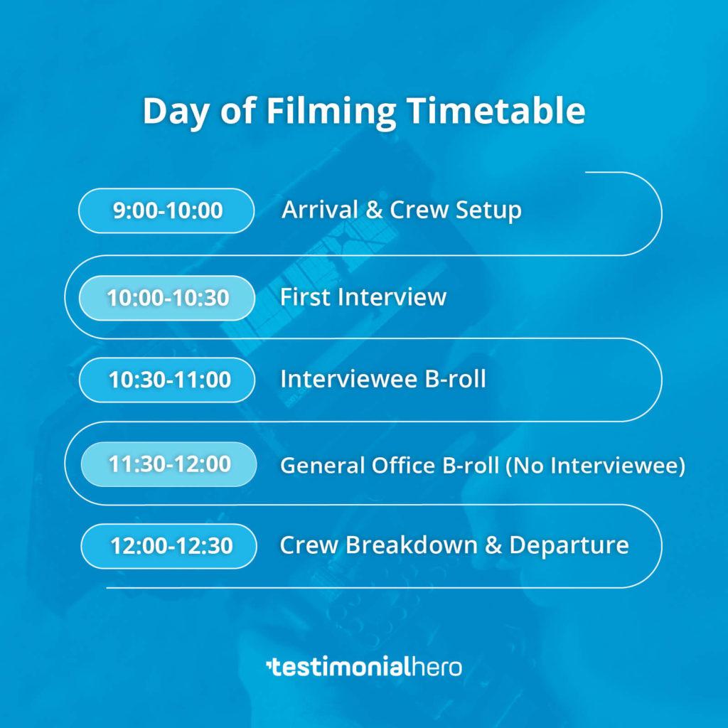Filming Schedule 1 Interview