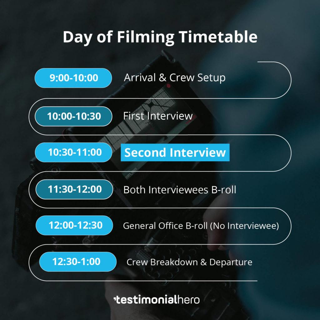 Filming Schedule 2 Interviews
