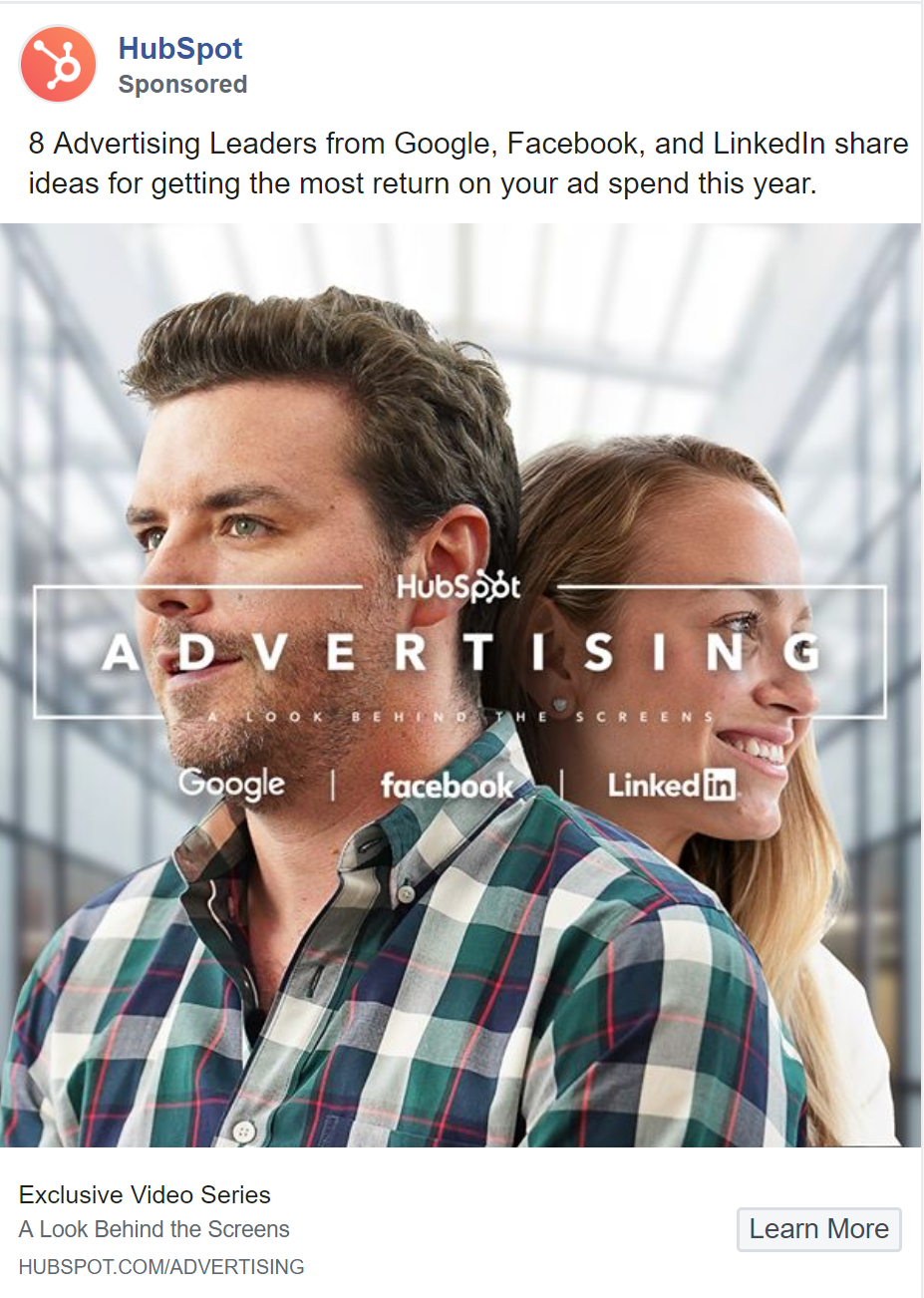 HubSpot uses a visually stunning ad on Facebooks to advertise testimonials.