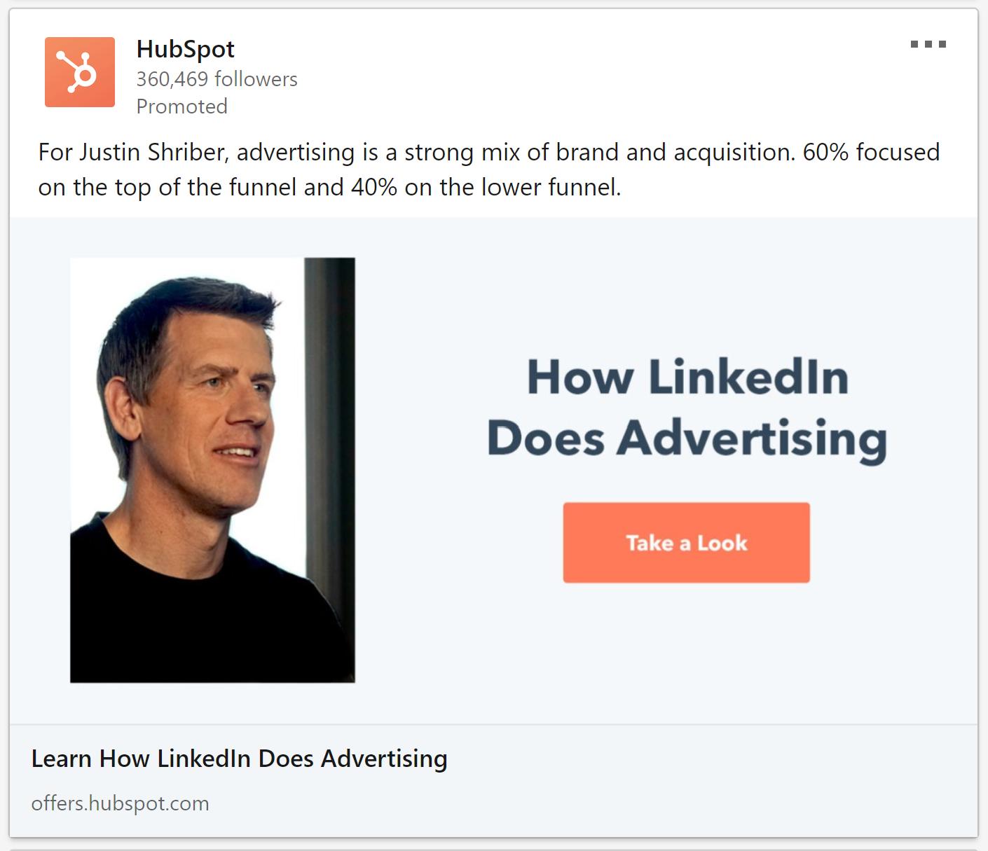 HubSpot focuses on an insider testimonial on LinkedIn.