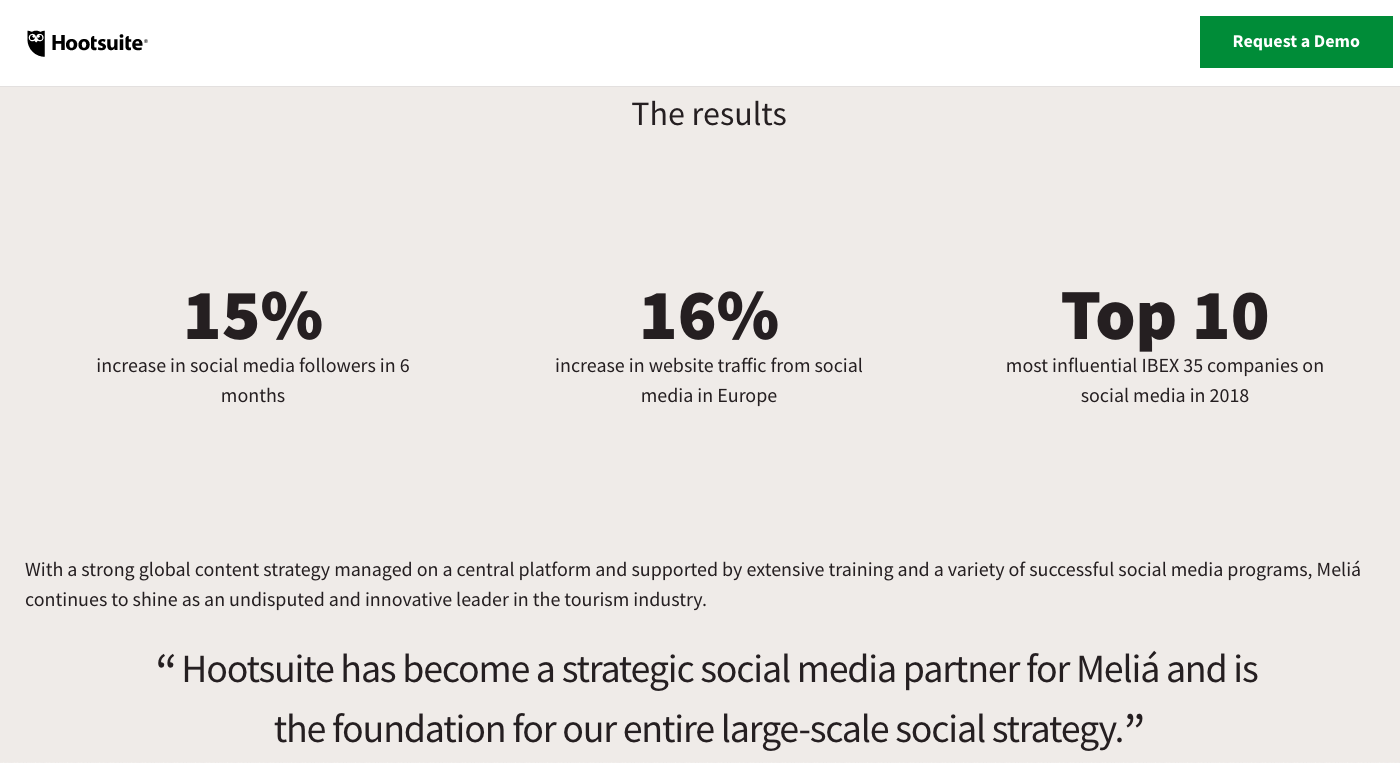 Hootsuite shows the social media testimonial format improves key statistics.