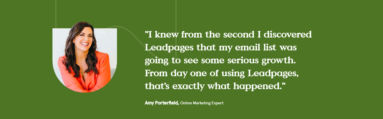 Leadpages shows quotes from satisfied clients.