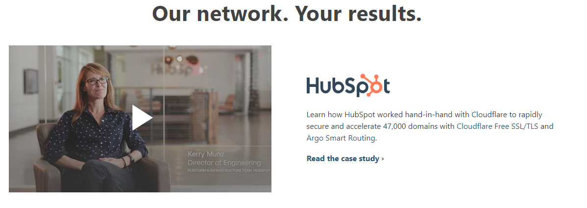 Cloudflare uses B2B testimonial video to engage prospects.