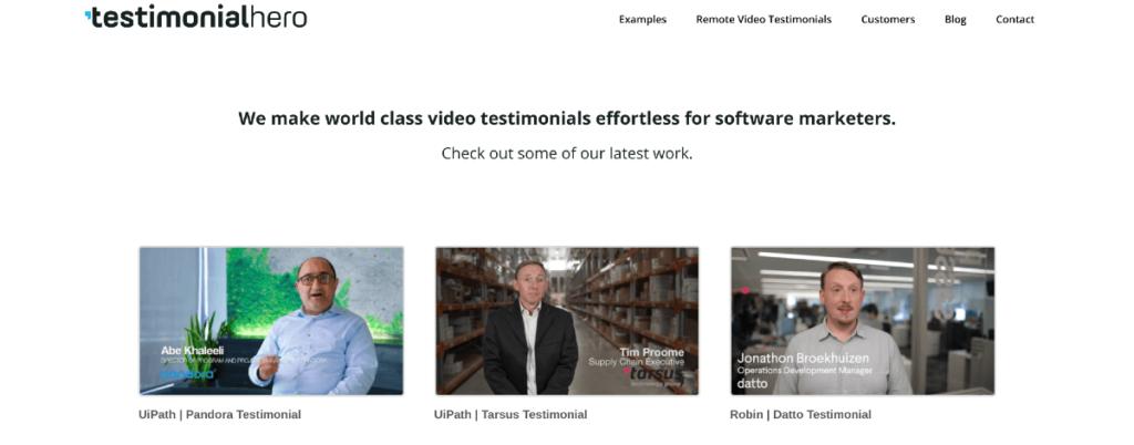 Testimonial Hero Vimeo portfolio.
