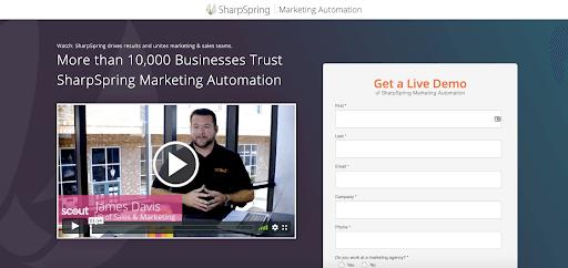 SharpSpring testimonial video landing page