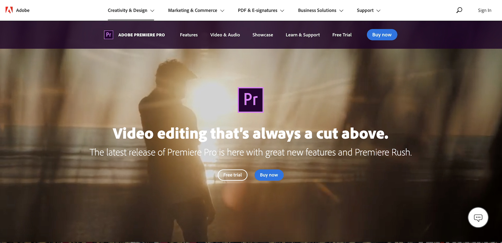 Adobe Premiere Pro video editing software homepage