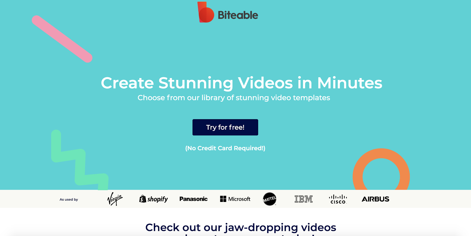 Biteable video editing software homepage