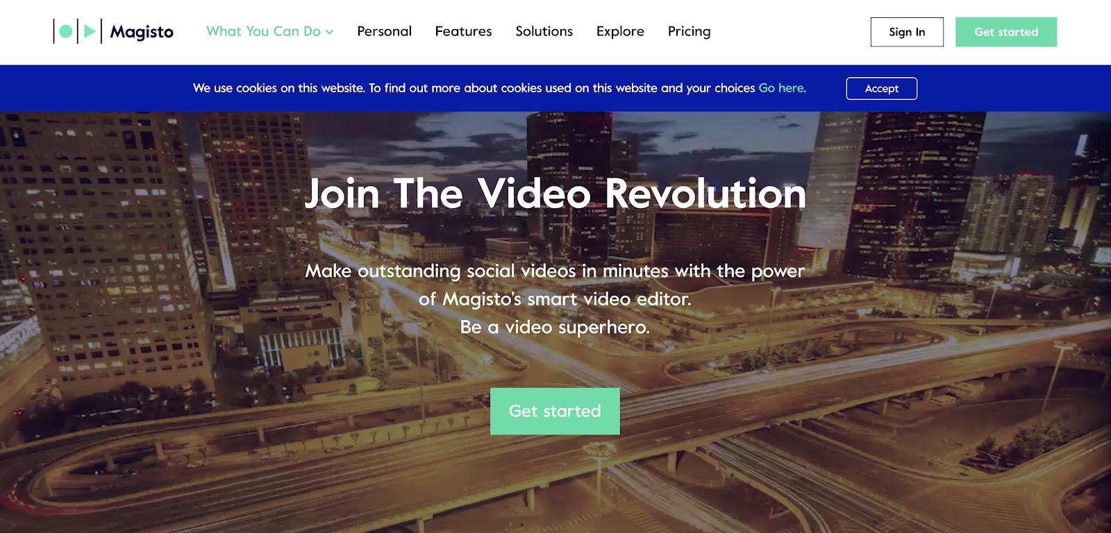 Magisto video editing software homepage