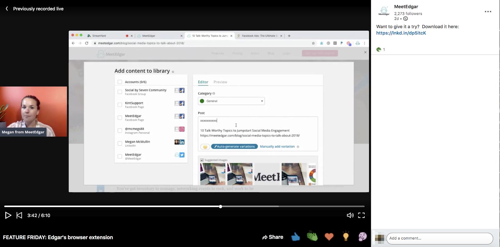 MeetEdgar live stream screenshot