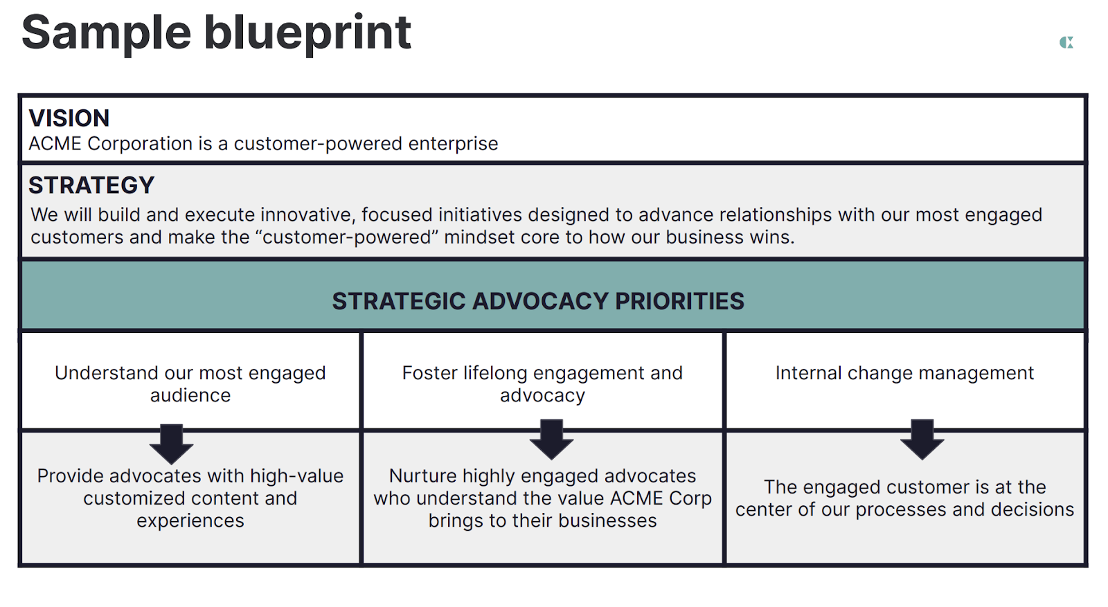 Table with example of company vision, strategy and strategic advocacy priorities
