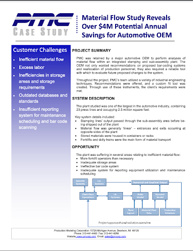 Manufacturing case study from PMC