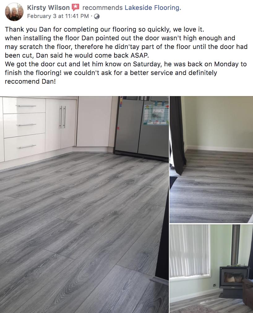 Facebook testimonial for Lakeside Flooring