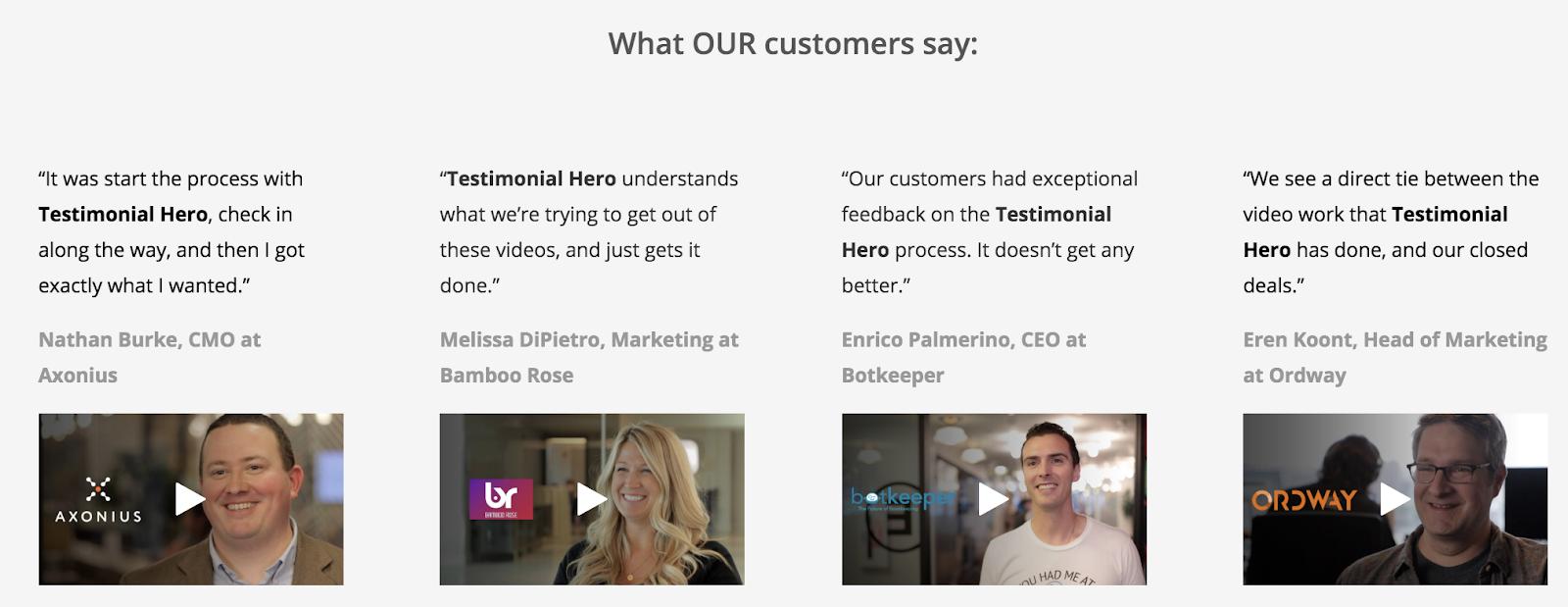 Testimonial Hero displays B2B testimonial videos neatly with quotes.