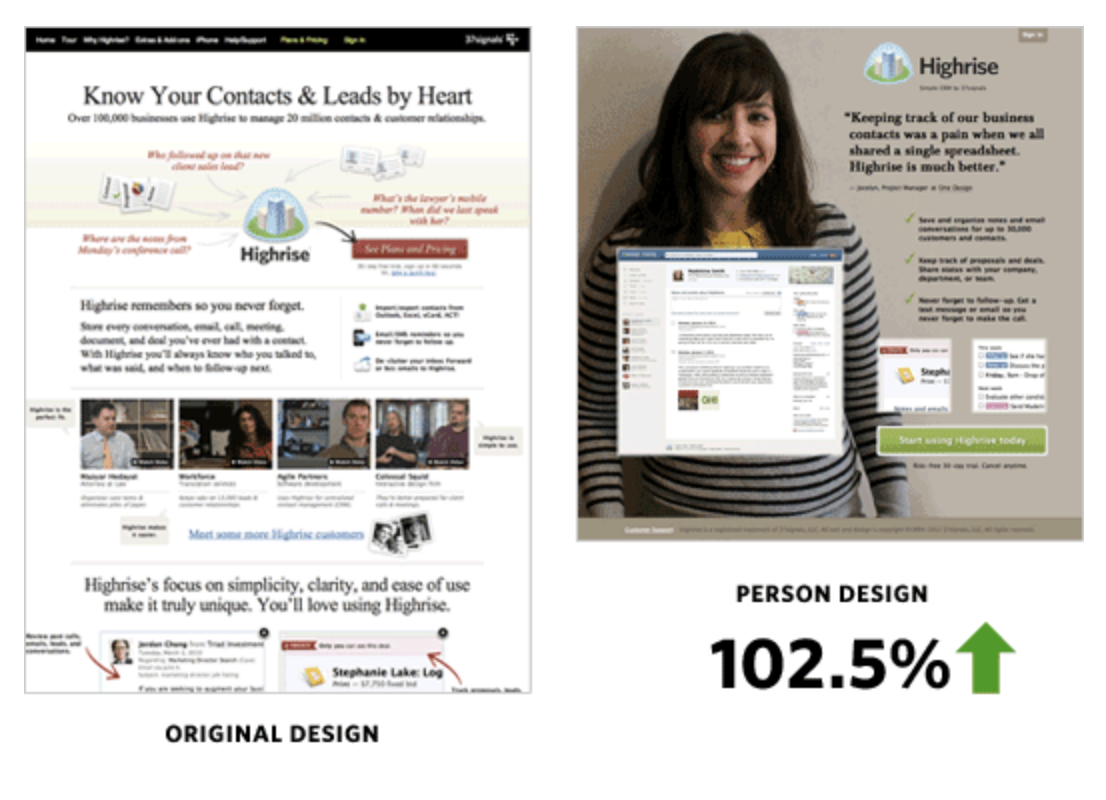 A large image of a customer converts well.