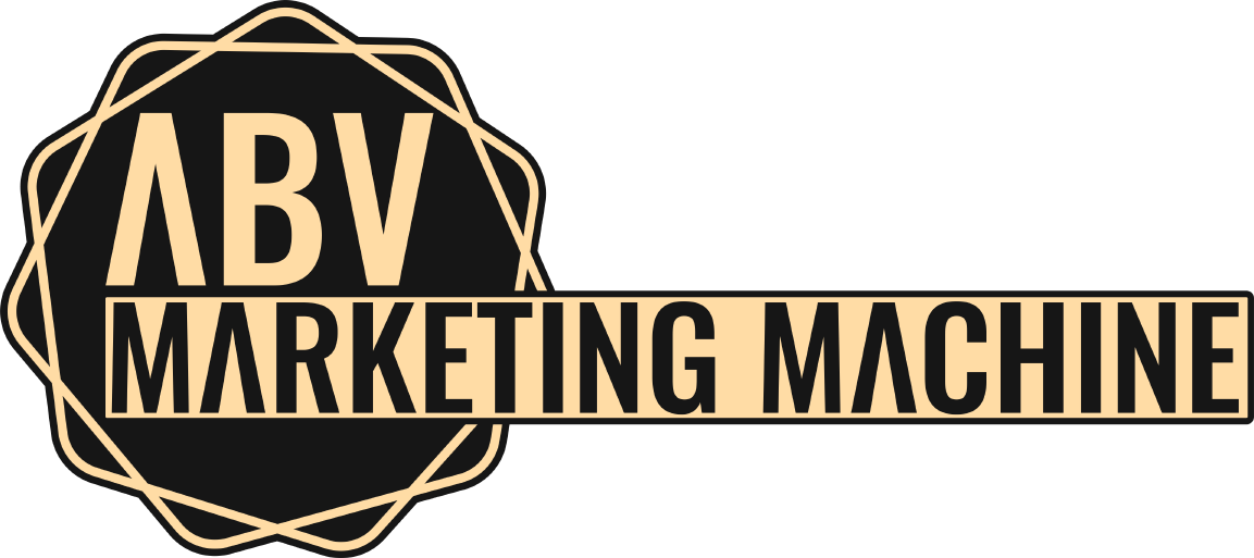 The ABV Marketing Machine Logo in Gold and Black.