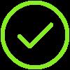 A Neon Green Check Mark In a Neon Green Circle.
