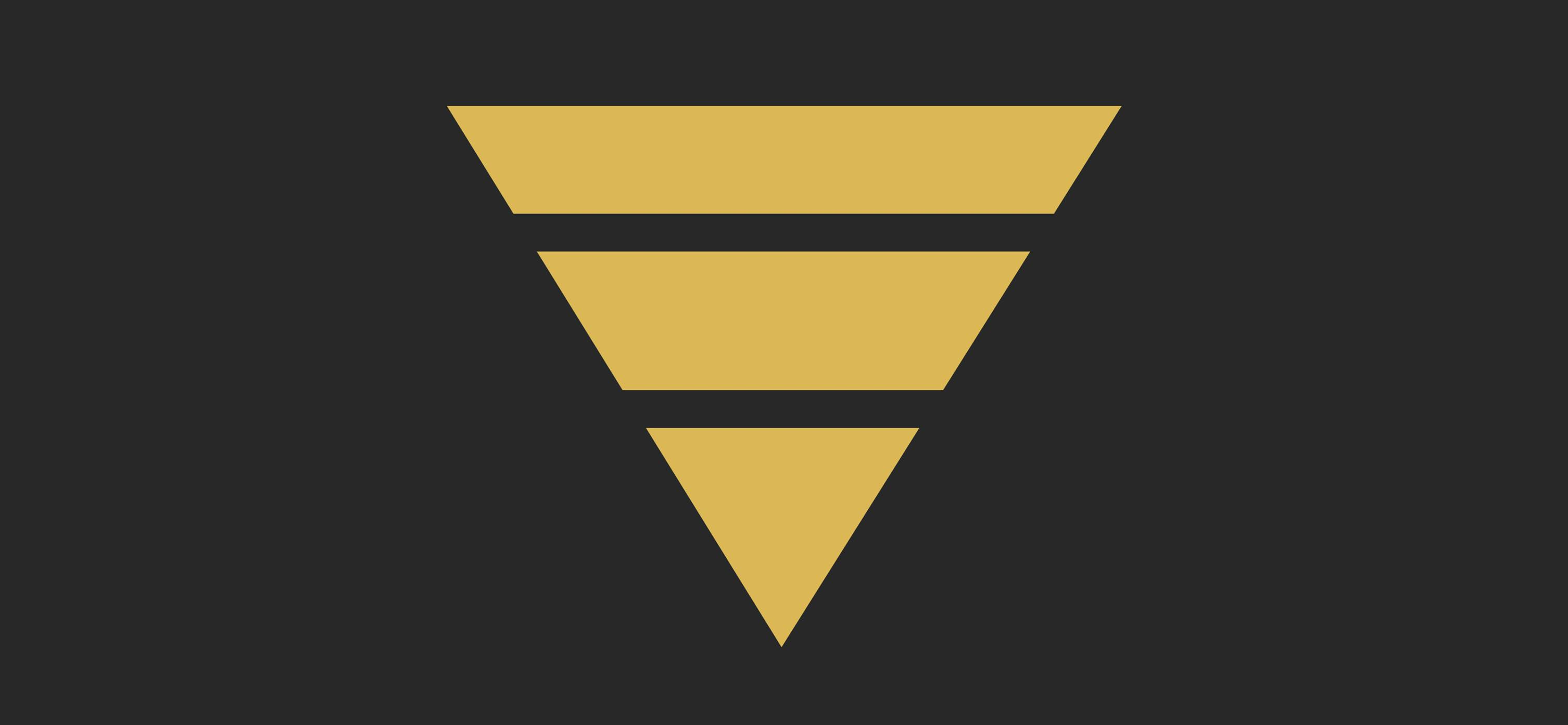 A Gold Funnel cut into three horizontal bars on a black background