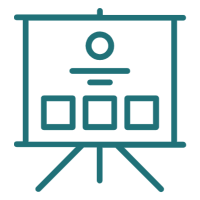 A graphic of a projector screen on a tripod with squares, lines and circles on the screen.