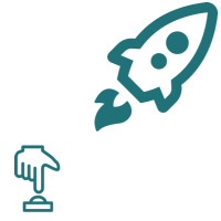 A graphic of a launching rocket in the upper right corner and a hand pushing a button in the lower left corner.