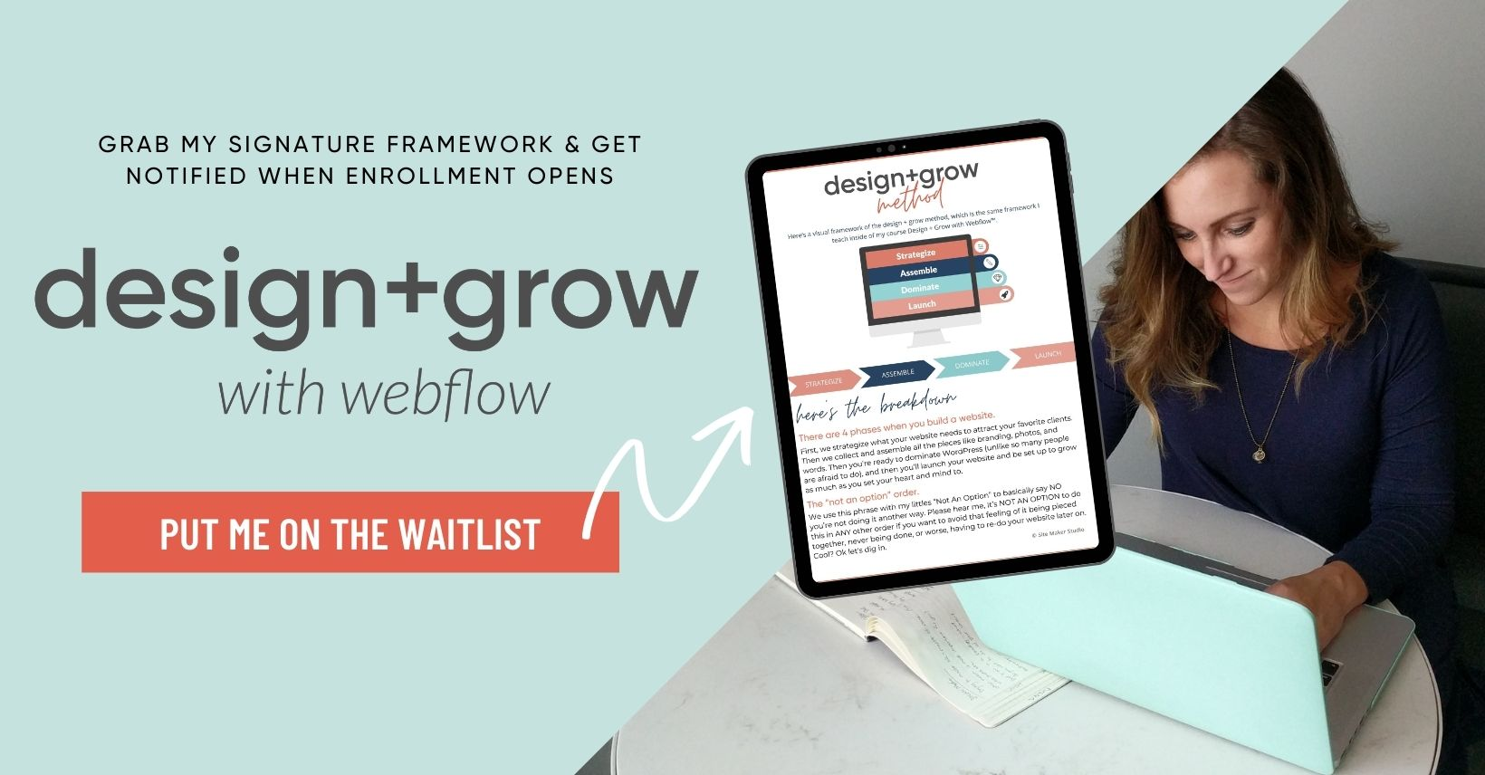 design & grow with webflow waiting list for course