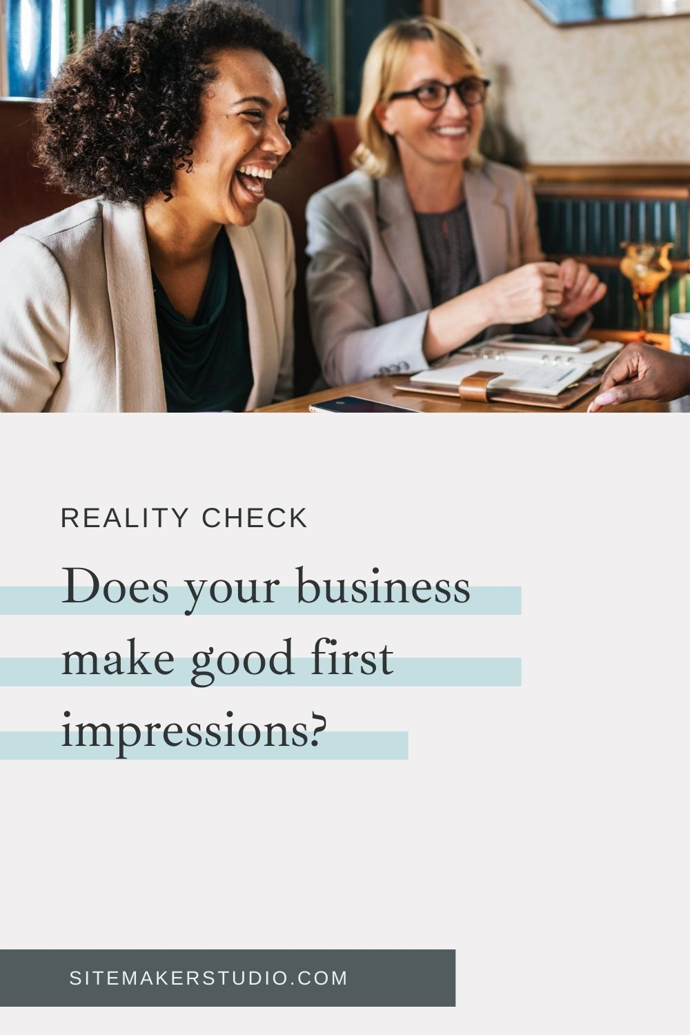 two clients having a chat about process and evaluating their web design business||improve your client and potential client first impression with these tips and how tos|
