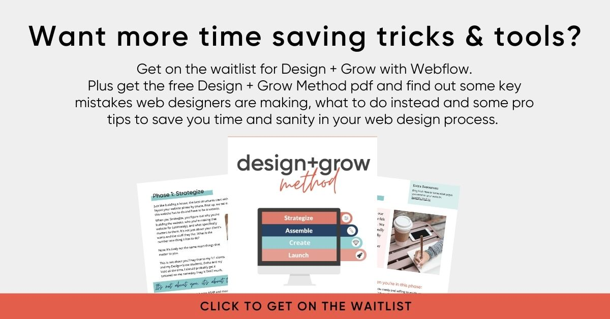 get on the waitlist for design and grow with webflow course