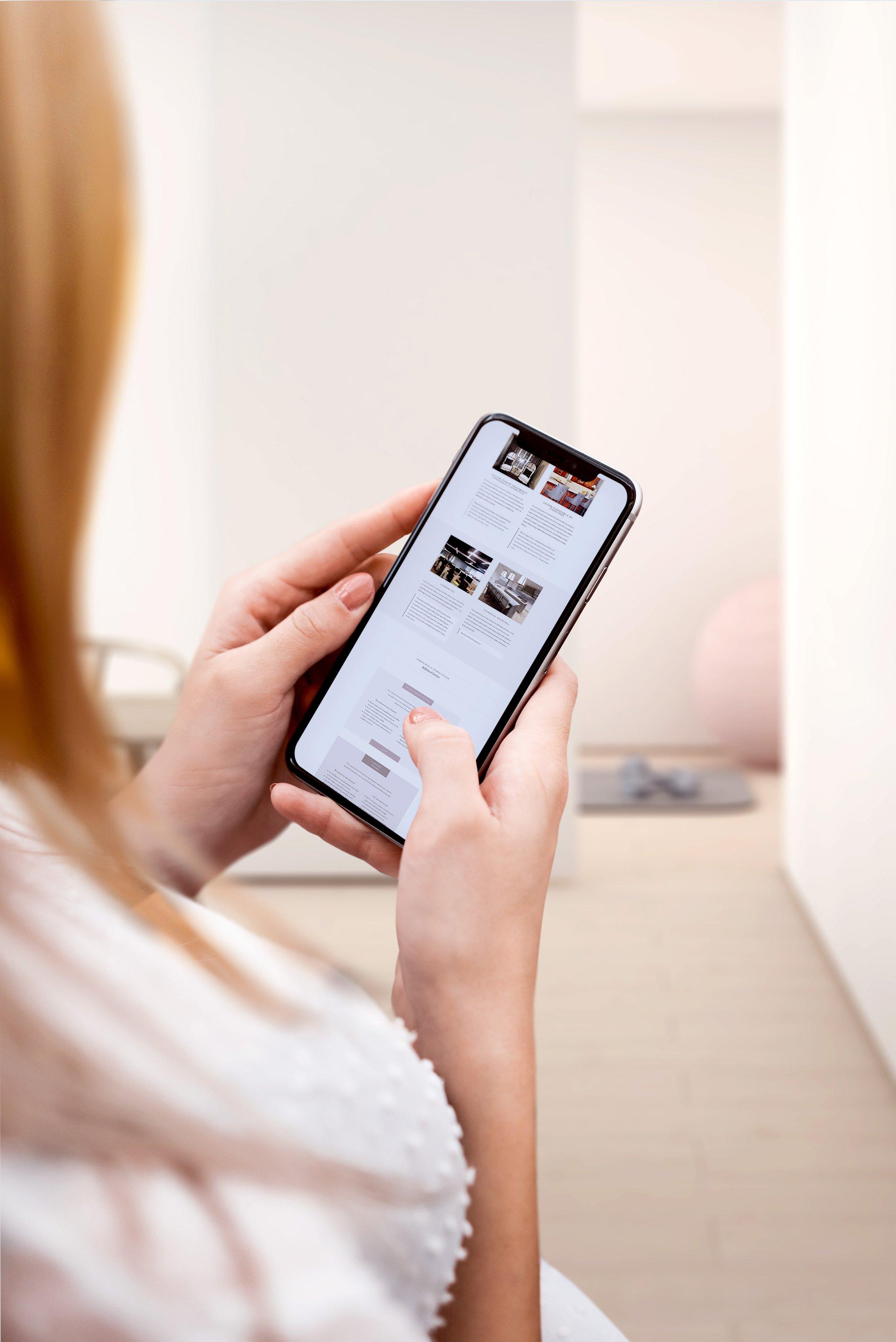 mobile mockup of contemporary light airy website design for interior designer by site maker studio jennifer sanjines designer