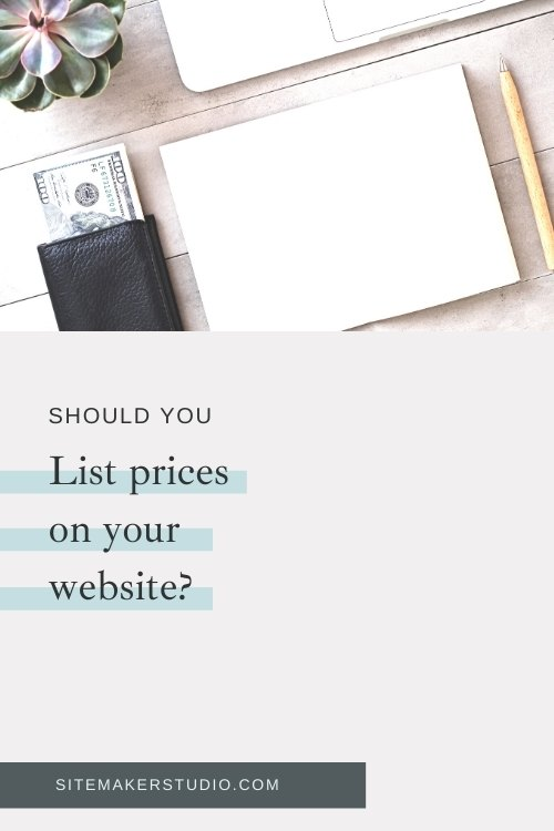 should you list prices on your website