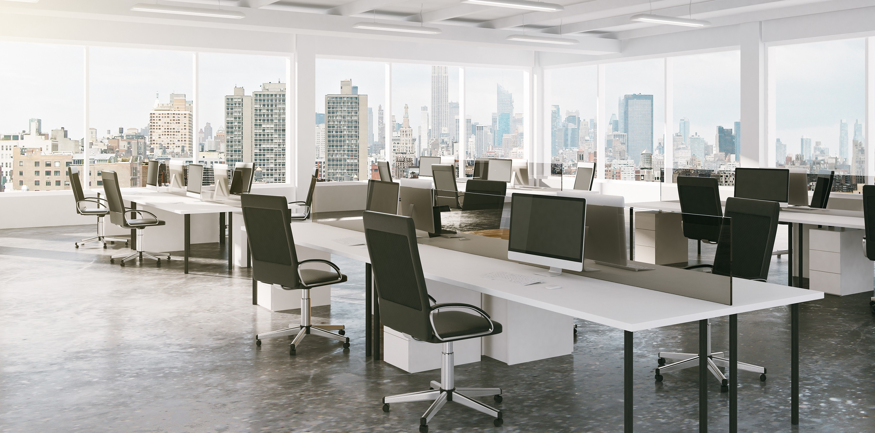 Covid-19 has made centralized systems (including offices) vulnerable. Image of an empty Manhattan office.