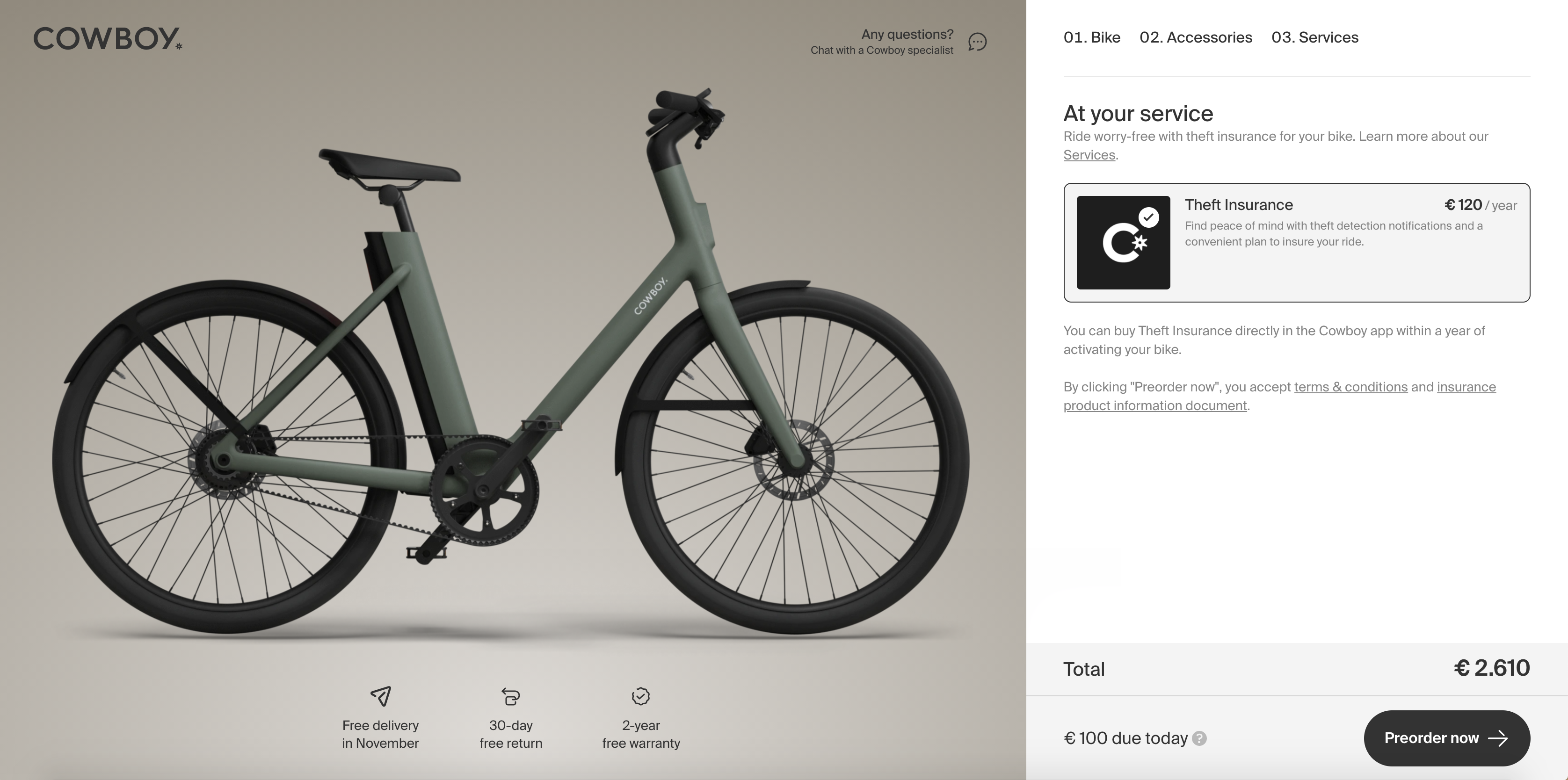 Cowboy offers embedded theft insurance for its e-bikes at checkout.