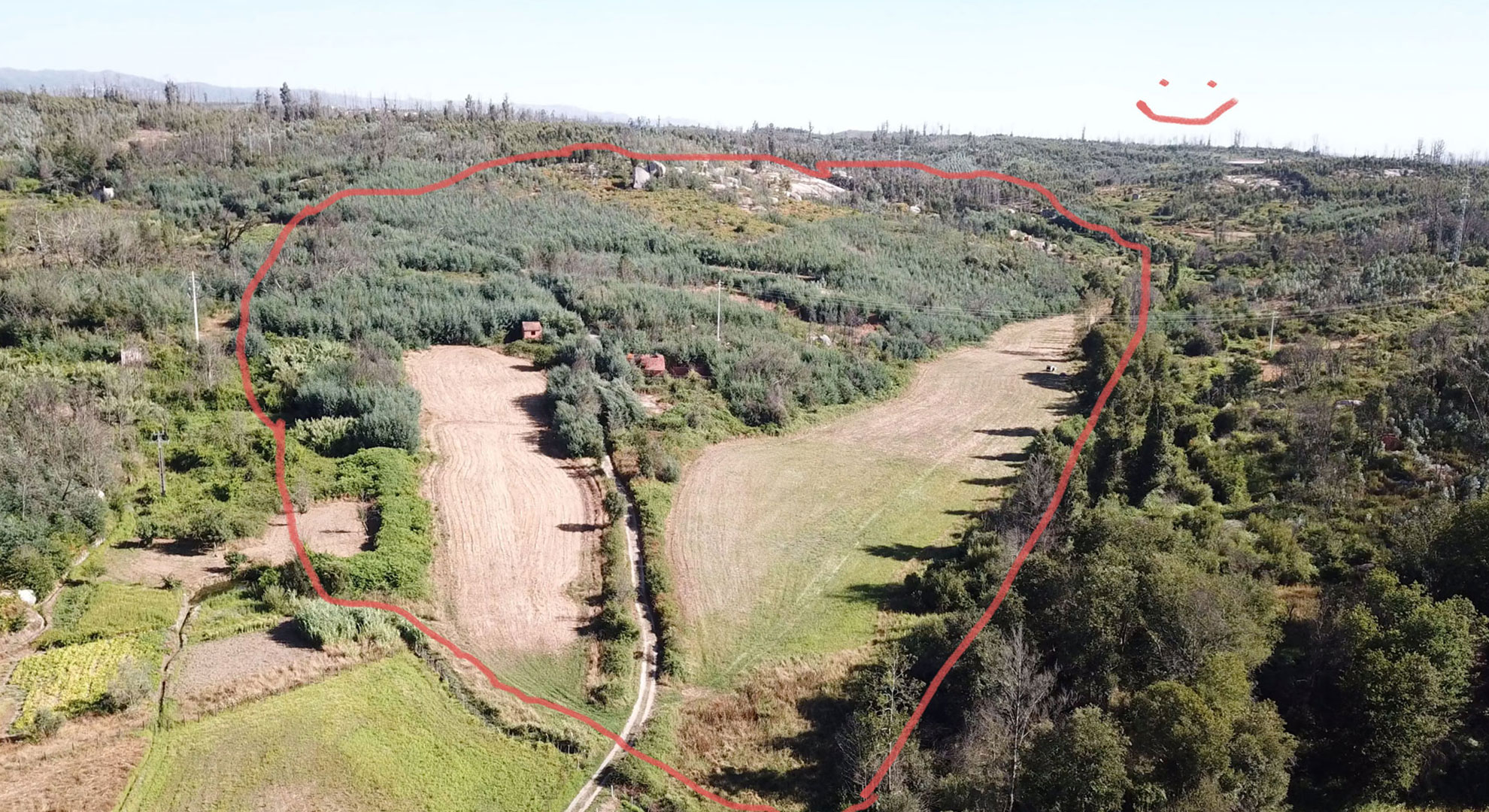 Birds-eye-view of Project Kamp land with overlaid sketch