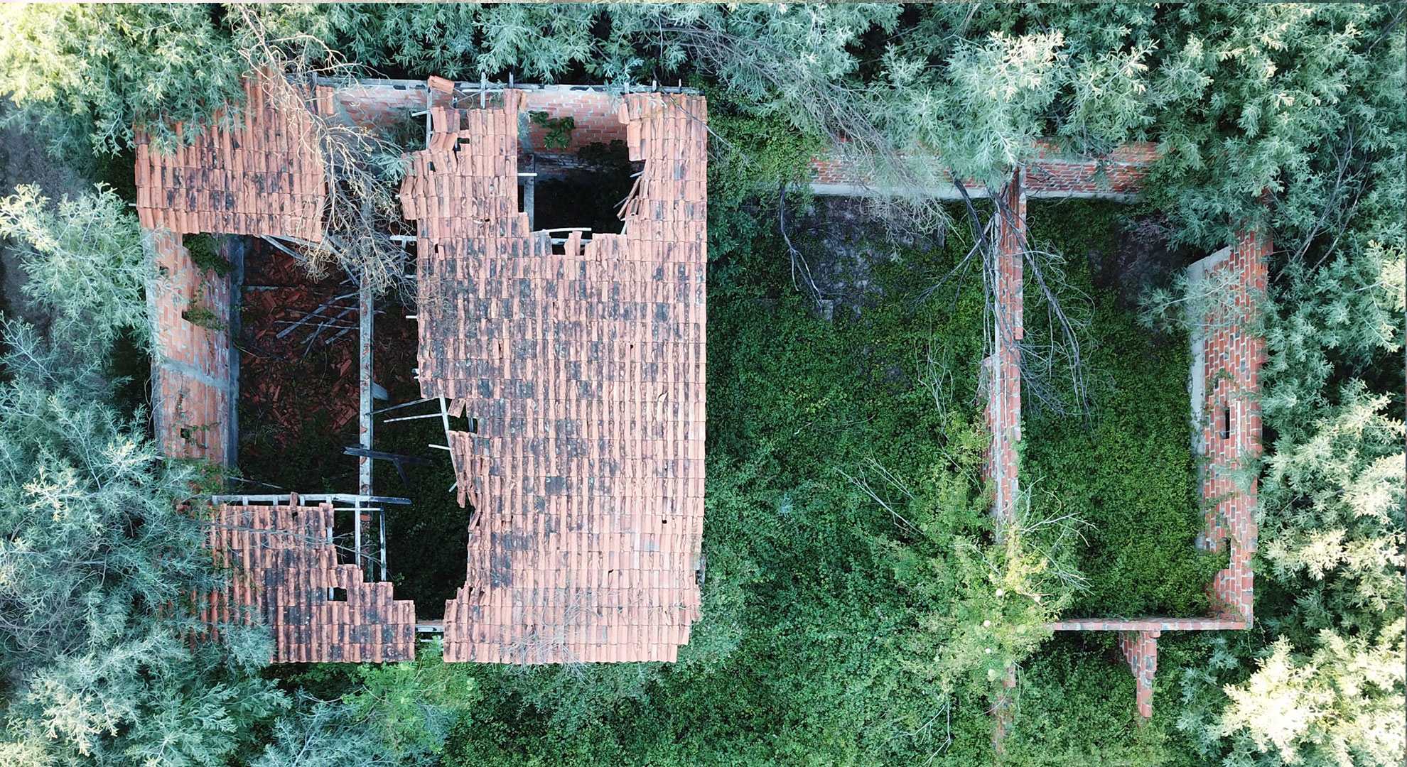 Aerial view of one of the ruins in Project Kamp