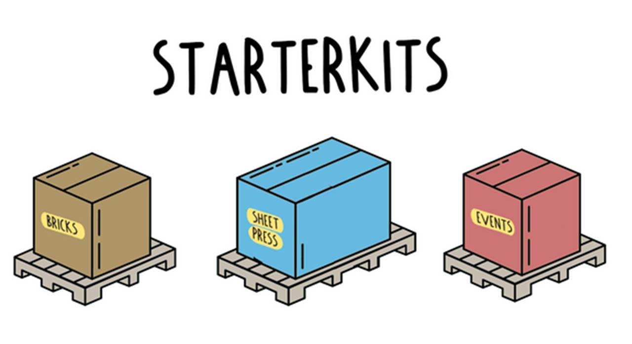 Illustration of different Precious Plastic starterkits