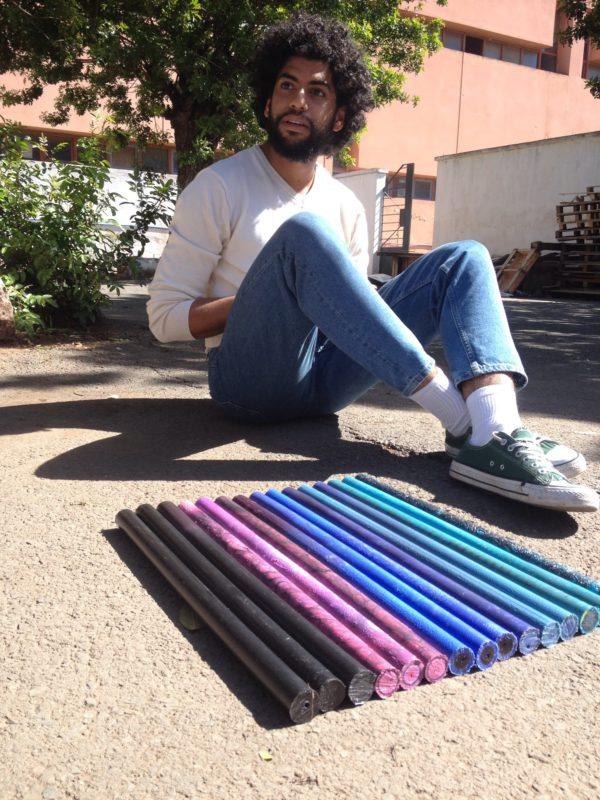 man and color gradient beams