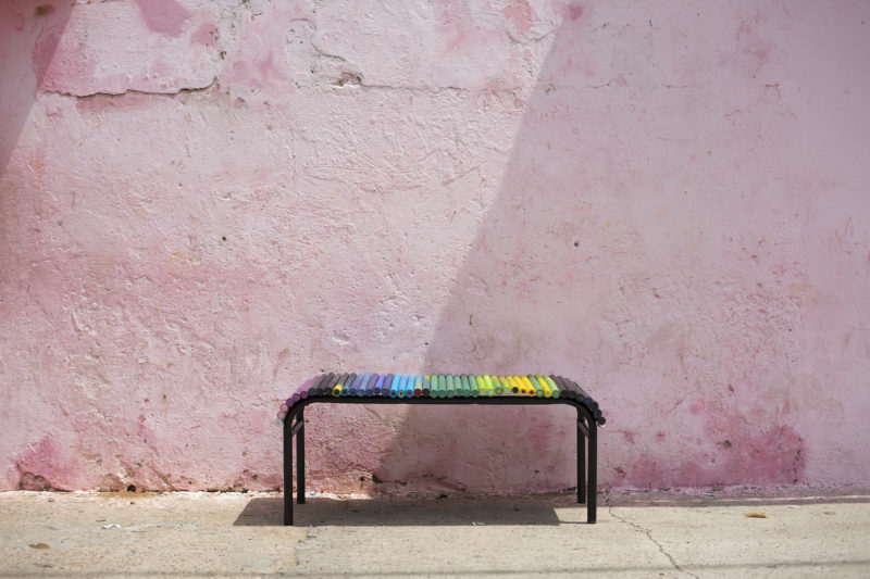 bench made with recycled plastic