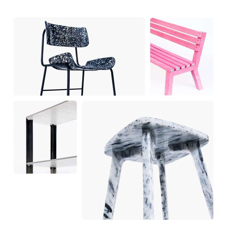 bench, stool, chair, bookshelves made of recycled plastic